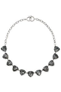 Stella & Dot New Stella & Dot Somervell Necklace Black Crystals Silver Tone
