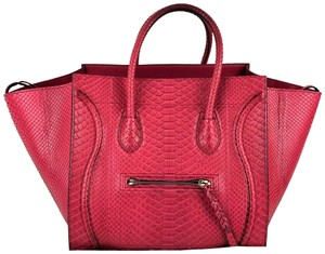 Céline Python Skin Leather Luggage Tote in Pink