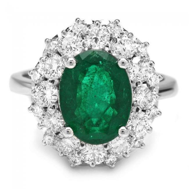 White Gold 4.85ct Natural Emerald & Diamond 14k Solid Ring White Gold 4.85ct Natural Emerald & Diamond 14k Solid Ring Image 1