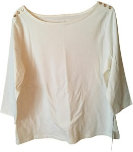 A New Day Buttons 3/4sleeve Scoop Neck T Shirt White