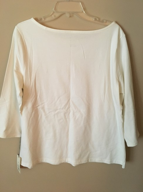 A New Day Buttons 3/4sleeve Scoop Neck T Shirt White Image 1