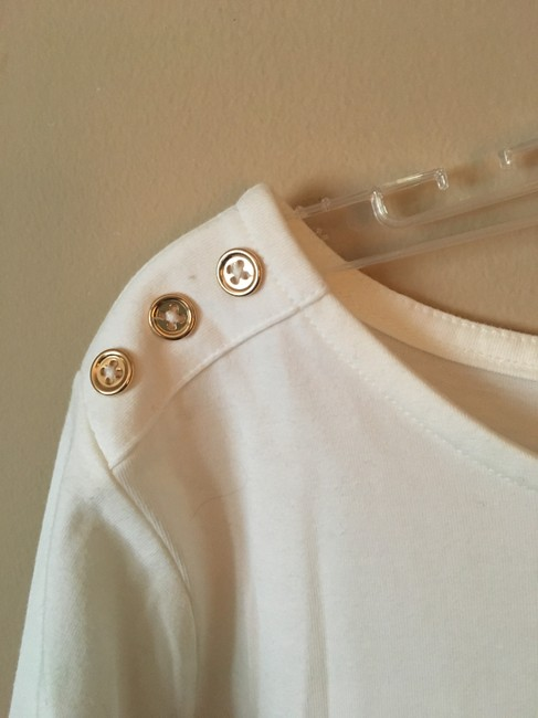 A New Day Buttons 3/4sleeve Scoop Neck T Shirt White Image 4