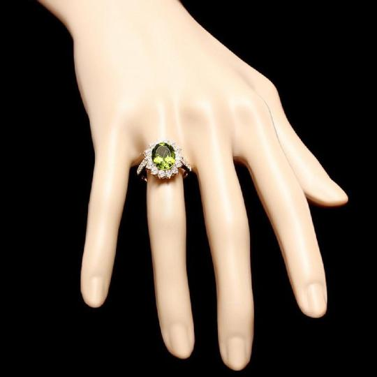 Other 5.15 Carats Natural Peridot and Diamond 14K Solid Yellow Gold Ring Image 2