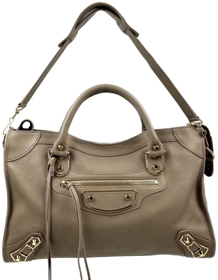 18ec78382e Balenciaga Classic Metallic Edge City Beige Praline Leather Shoulder ...