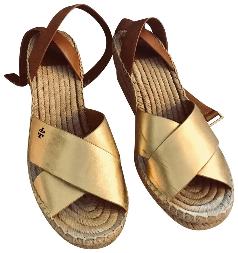 c1a524de3ac5 Tory Burch Gold Royal Tan Espadrille Sandal Bima Leather Wedges. Size  US  9.5 Regular (M ...