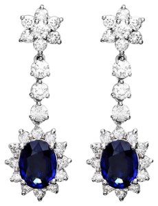 Other 5.50Ct Natural Sapphire and Diamond 14K Solid White Gold Earrings