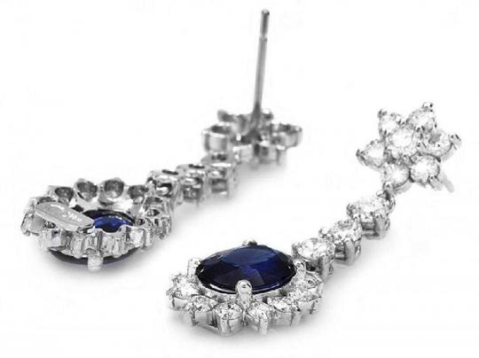 Other 5.50Ct Natural Sapphire and Diamond 14K Solid White Gold Earrings Image 1