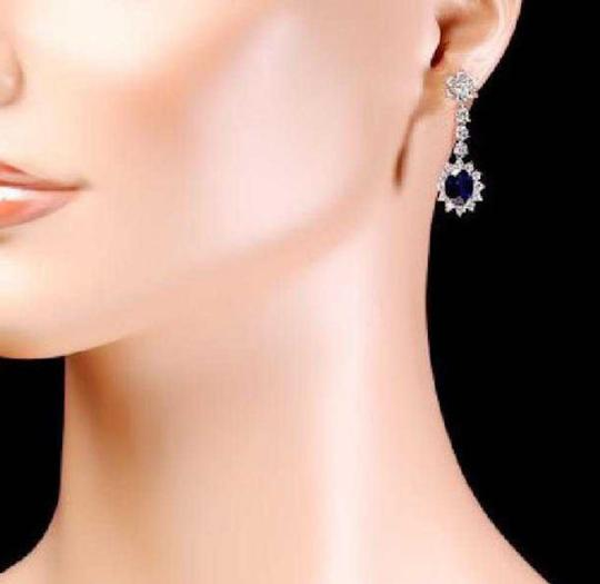 Other 5.50Ct Natural Sapphire and Diamond 14K Solid White Gold Earrings Image 2