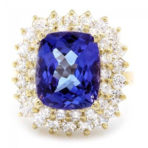 Other 9.40 Carats NATURAL TANZANITE and DIAMOND 14K Solid Yellow Gold Ring