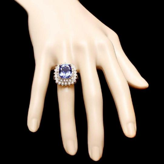 Other 9.40 Carats NATURAL TANZANITE and DIAMOND 14K Solid Yellow Gold Ring Image 2