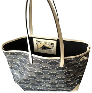 Moynat Tote in Grey/ blue / white handles/ piping