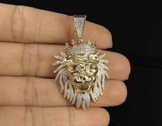 Jewelry Unlimited 10K Yellow Gold Real Diamond Lion Charm Pendant 0.75 CT 1.8
