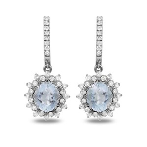 Other 9.60Ct Natural Aquamarine and Diamond 14K Solid White Gold Earrings