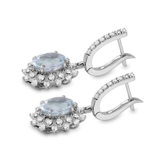 Other 9.60Ct Natural Aquamarine and Diamond 14K Solid White Gold Earrings Image 1