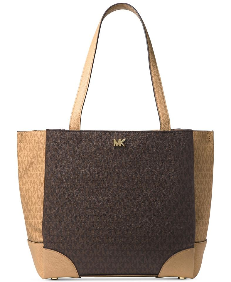 7af2b4f49878 Michael Kors Gala Signature Brown Faux Leather Tote - Tradesy