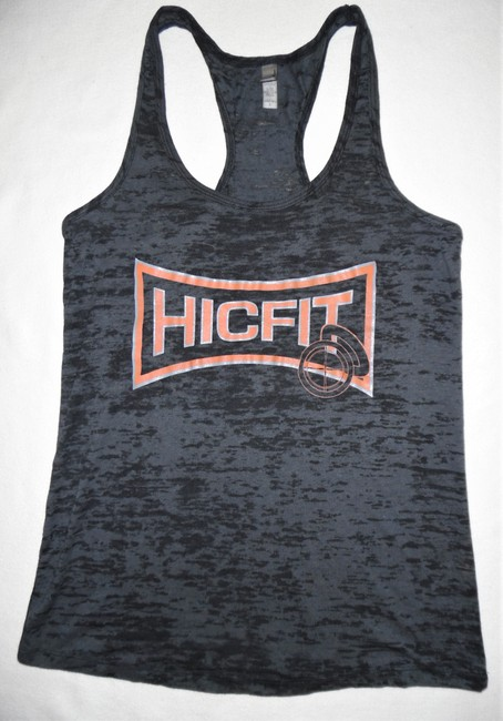 Next Level Apparel Fitness Hic Fit Cross Training Sports Top Charcoal Gray, Orange Image 3