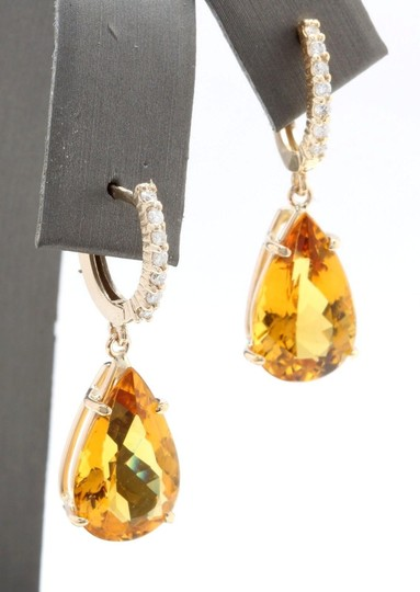 Other 5.30CTW Natural Citrine & Diamond in 14K Yellow Gold Stud Earring Image 2