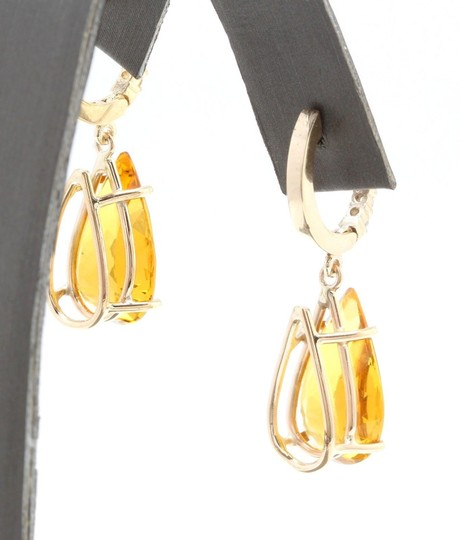 Other 5.30CTW Natural Citrine & Diamond in 14K Yellow Gold Stud Earring Image 4