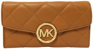 MICHAEL Michael Kors Michael by Michael kors Fulton Quilted Carryall Tan Leather Wallet