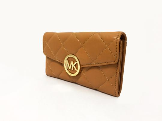 MICHAEL Michael Kors Michael by Michael kors Fulton Quilted Carryall Tan Leather Wallet Image 1