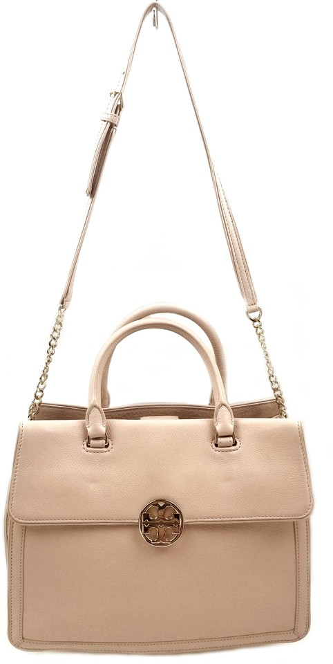 d998b48c2d7 Tory Burch Duet Chain Convertible Satchel Light Oak  Sparkly Gold Leather  Shoulder Bag