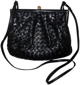 Bottega Veneta Lambskin Leather Intrecciato Vintage 1970s Black Clutch