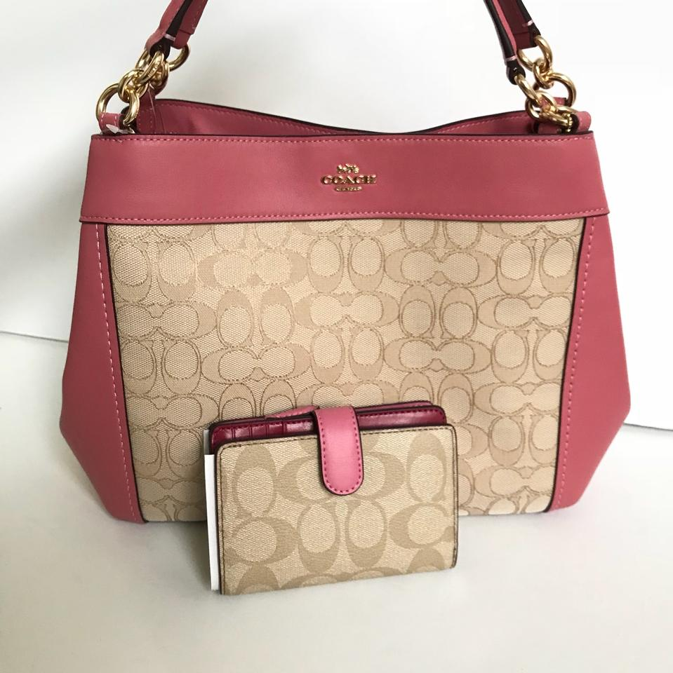 8528f106aa Coach Lexy Small Ang Wallet Light Khaki Peony Light Gold Jacquard Shoulder  Bag