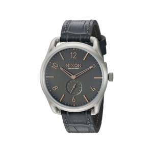 Nixon A465-2145 Men's Grey Leather Band With Black Analog Dial Watch