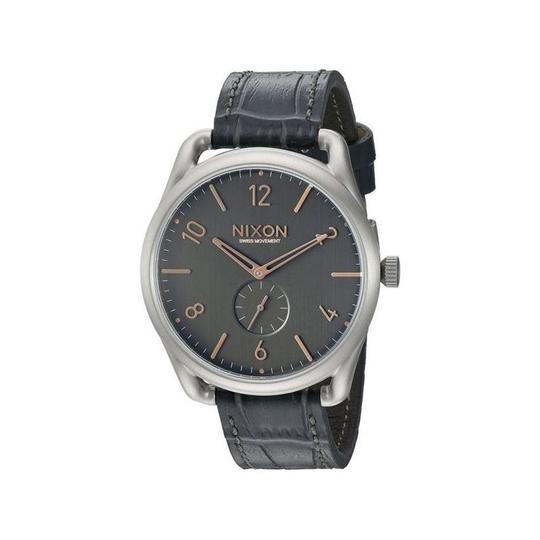 Nixon A465-2145 Men's Grey Leather Band With Black Analog Dial Watch Image 1