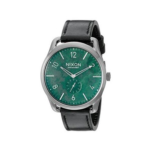Nixon A465-2069 Mens Black Leather Band With Green Analog Dial Watch