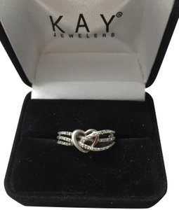 Kay Jewelers Kay Jewelers Sterling Silver Crisscross Diamonds and Heart Ring