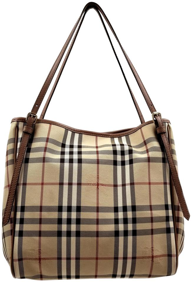 7837bcf09c9e Burberry Horseferry Check Small Canterbury Canvas Leather Honey  Tan Canvas  Tote