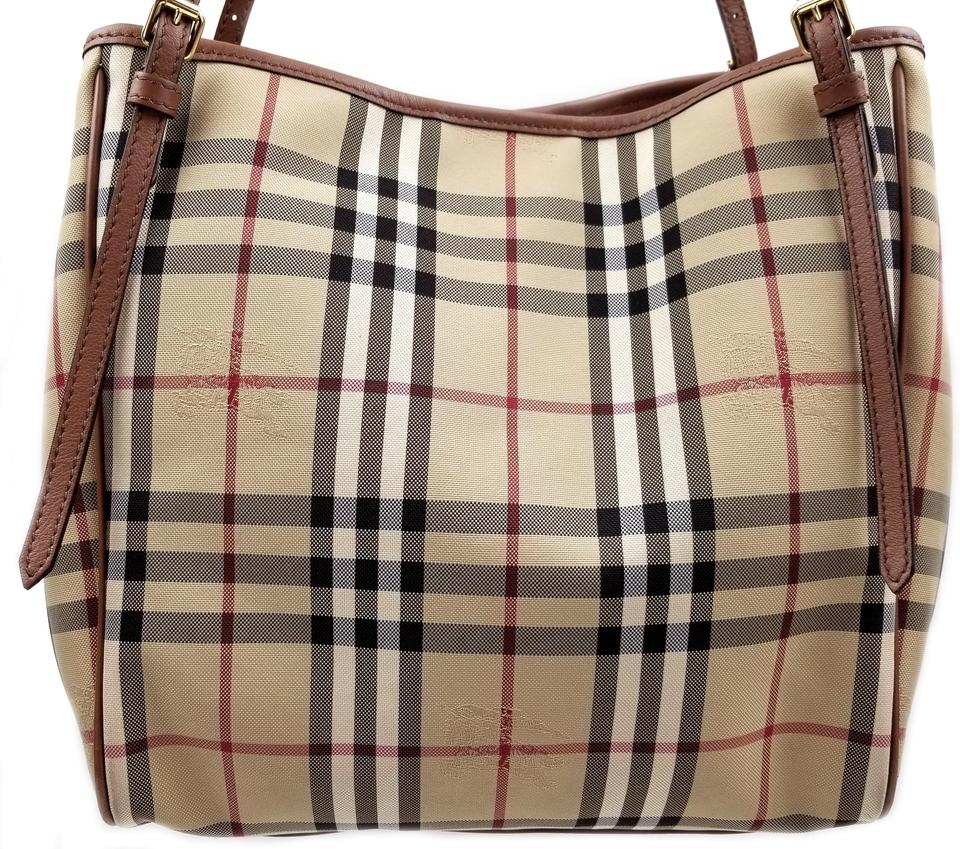 d51a580a467 Burberry Horseferry Check Small Canterbury Canvas/Leather Honey/ Tan Canvas  Tote - Tradesy