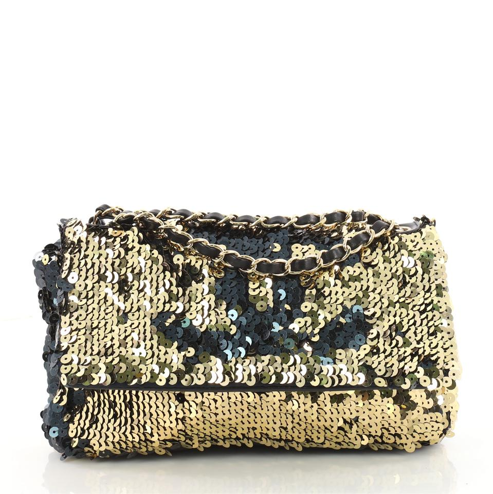 ca0d6f747553 Chanel Classic Flap Summer Night with Leather Medium Black and Gold ...