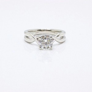 Hearts on Fire H Si1 Twist Round Brilliant Diamond Solitaire Band 1.23 Tcw Engagement Ring