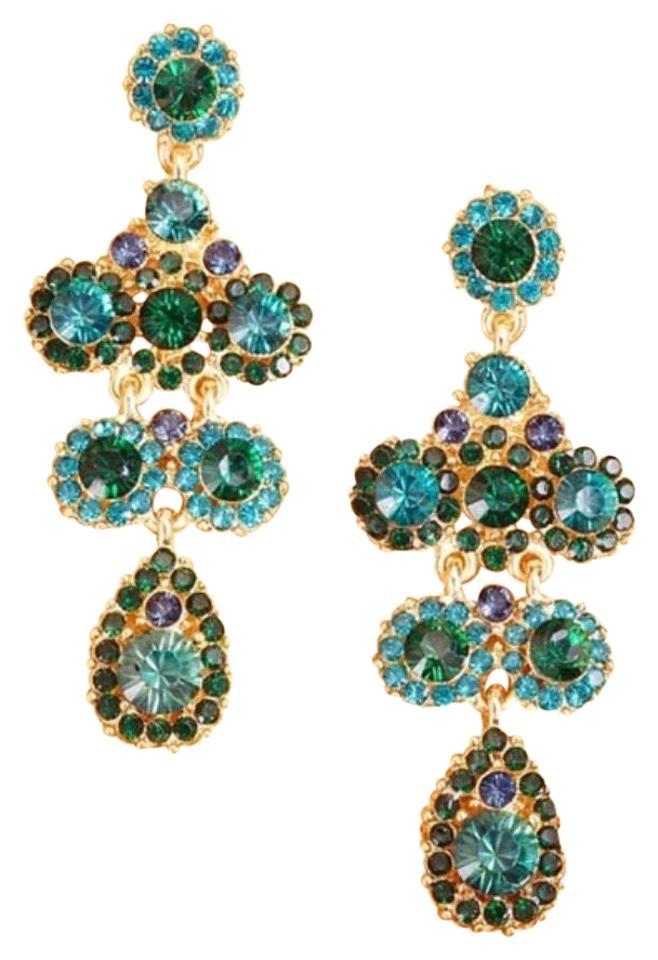 Olivia Welles Blue Green Turquoise Emerald Crystal Pave Statement Earrings  40% off retail