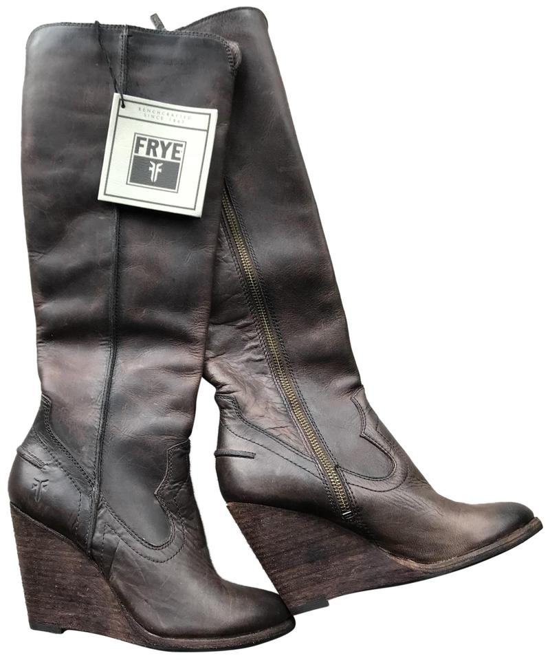 73a44ba95fc Frye Slate Brown Cece Tall Wedge Boots Booties Size US 6 Regular (M ...
