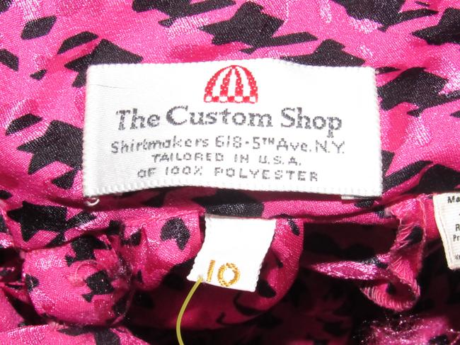 Custom Shop Mint Vintage Top pink and black hounds-tooth print silky polyester with tie neck Image 5