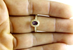 LAJ Oval Purple Amethyst & Diamond Solitaire Ring 14k Yellow Gold .88Ct