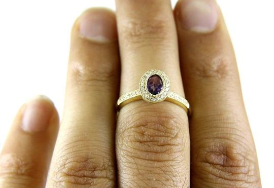LAJ Oval Purple Amethyst & Diamond Solitaire Ring 14k Yellow Gold .88Ct Image 1