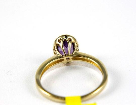 LAJ Oval Purple Amethyst & Diamond Solitaire Ring 14k Yellow Gold .88Ct Image 2