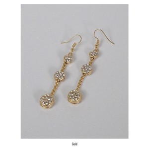 Fashion Three Tier Crystal Accent Drop Gold Earrings