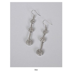 Fashion Three Tier Crystal Accent Drop Silver Earrings