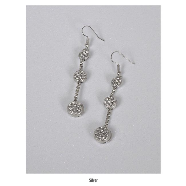 Item - Silver Three Tier Crystal Accent Drop Earrings