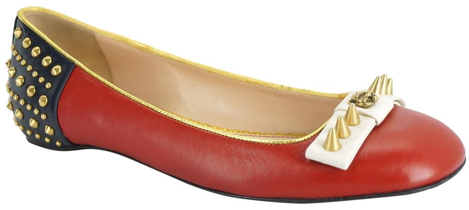 c724ac39f Gucci Red Leather Lexi Gold Multi Studded Leather Ballerina Flats ...