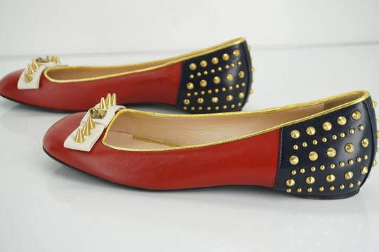 Gucci Spike Studded Gg Ballet Party Red Flats Image 10