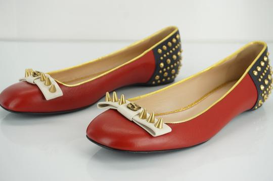 Gucci Spike Studded Gg Ballet Party Red Flats Image 2