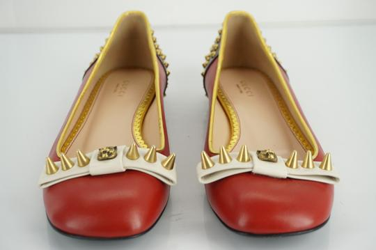 Gucci Spike Studded Gg Ballet Party Red Flats Image 4