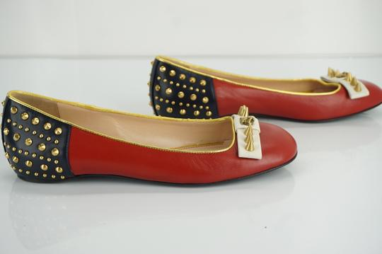 Gucci Spike Studded Gg Ballet Party Red Flats Image 5
