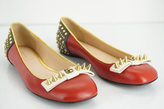 Gucci Spike Studded Gg Ballet Party Red Flats Image 8